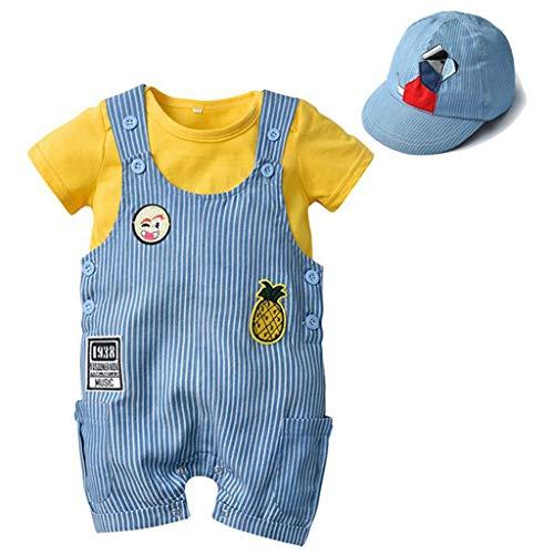 Bebé Set de Ropa Mameluco Niños Manga Corta Peleles Mono Onesies con Sombrero