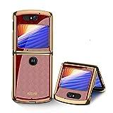 MingMing Hülle für Motorola Razr 5G Hardcase Stoßfest Schutzhülle PC + 9H Gehärtete Glasabdeckung, Superdünne handyhülle für Motorola Razr 5G, Rot geflochten