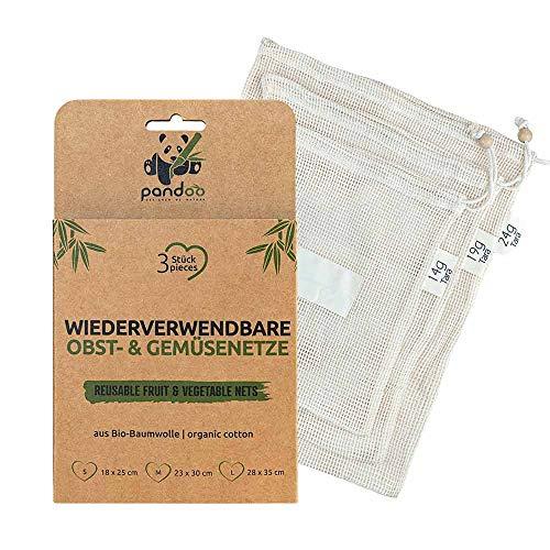 pandoo 3er Pack Obst- und Gemüsenetze aus Bio-Baumwolle | 3 Einkaufs-Netze | Plastikfrei und Unverpackt Einkaufen | Wiederverwendbare Einkaufstaschen