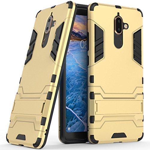 Hoesje voor Nokia 7 Plus (6 inch Scherm) 2 in 1 Hybrid Rugged Schokbestendige Back Cover met Kickstand Hoes (Gouden)