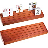 Blulu 2 Packs Wooden Playing Card Holder Tray Rack Organizer, 13.8 Inch 3.1 Inch Great for Organizing Cards on Game, Rummy, Party and Match