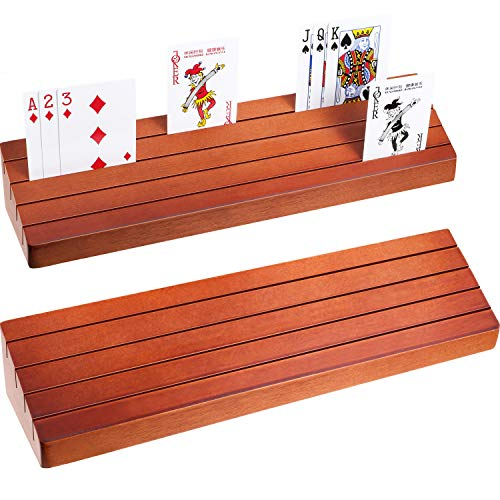Exqline Curved Wooden Playing Card Holder Tray Rack Organizer Set of 2 Solid Card Holder for Kids Seniors - 13.8 x 1.9 x 2.4 Inch for Bridge Canasta Strategy Card Playing