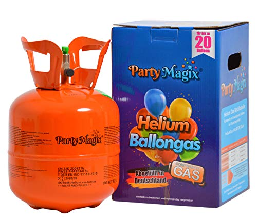 PartyMagix Bombona de gas helio prémium, pequeña, para 20 globos, envasada en Alemania, botella de helio, bombona de helio, para globos, gas, cumpleaños, fiestas, bodas, globos desechables