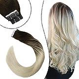 Ugeat Rajout Cheveux Adhésif Tapes Extensions Remy Hair 2.5g/PC Balayage #2/60 Marron Foncé Ombre Blond Platine 40cm Tape Human Hair Extensions de Ruban Cheveux Humains 20PCS