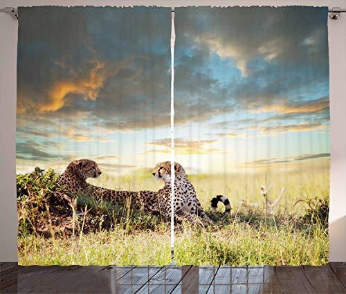 ABAKUHAUS Safari Rustikaler Gardine, Gefährliche Geparden in Afrika, Schlafzimmer Kräuselband Vorhang mit Schlaufen und Haken, 280 x 175 cm, Braun Grün