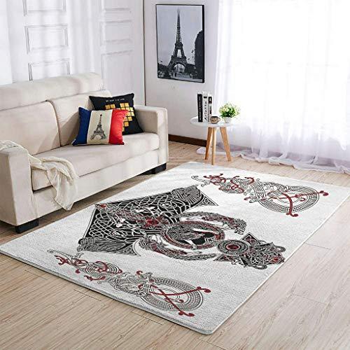 OwlOwlfan Viking Norse Wolf Tattoo Floor Rugs Morden Home Decor Carpets Floor Rug Mat for Bedroom Floor Sofa Living Room Kids Baby's Room white 122x183cm
