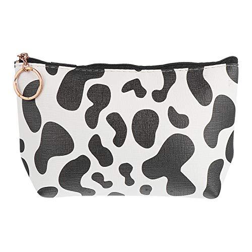 Valliclud - Neceser de maquillaje con cremallera, pequeño neceser de aseo estampado de vaca, portamonedas portátil