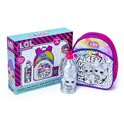 L.O.L. Surprise! Doodle Mochila y botella de agua Set de regalo para niñas – Colorea tu propia mochila de y felpa para niñas botella de agua para niños – Cool Christmas Birthday Gifts