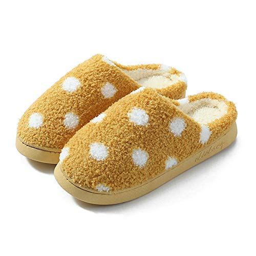 B/H Pantuflas de invierno para mujer, de algodón, cálidas para el hogar, para parejas, para interior, color amarillo, 40/41, para mujer y hombre