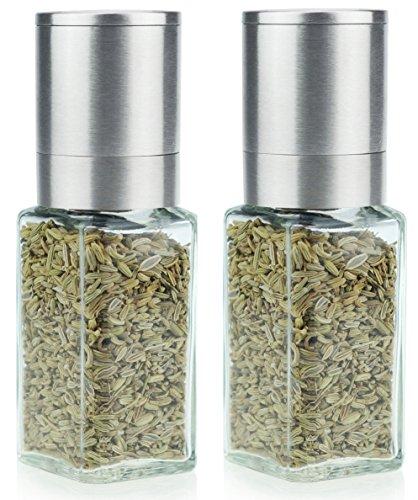 2 x Pfeffermühle Salzmühle Gewürzmühle unbefüllt mit Keramik Mahlwerk klein und handlich Edelstahl und Deckel Glas eckig 70ml