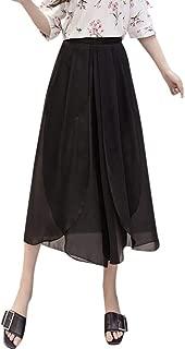 hositor Pants for Women, Ladies Summer Solid Chiffon Flare Elastic High Waist Wide Leg Pants Plus Size