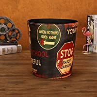 LSNLNN ゴミ箱、カバーのない家庭用ゴミ箱丸革の廃バスケット,F