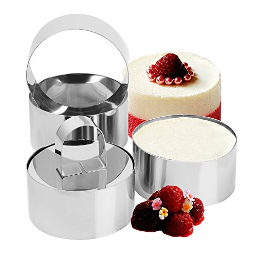 Set of 4 - Round Stainless Steel Small Cake Rings, Mousse and Pastry Mini Baking Ring Mold with Pusher