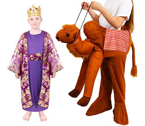 Disfraz infantil de NATIVIITY King – 3 Kings NATIVIITY NATIVIITY NATIVIITY - Disfraz de TÚNICO de MELCHIOR morado + reloj de encaje + corona + CAMEL PICK ME UP - Tamaño: pequeño