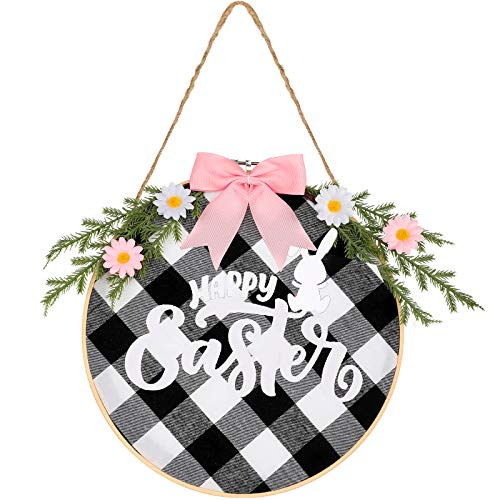 Happy Easter Round Sign Easter Day Hanging Sign Happy Easter Wall Sign with Ribbon Bow and Artificial Branch for Easter Day Home Window Wall Farmhouse Indoor Outdoor Decoration (Pink Bow)