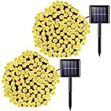 Jiamao 2 Pack Solar String Lights Outdoor, 200 LED 75.5ft 8 Modes Solar Christmas Lights, Waterproof Solar Halloween Lights for Home, Garden, Wedding, Party, Halloween, Christmas(Warm White)