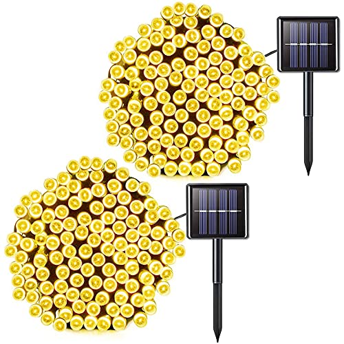 Jiamao 2 Pack Solar String Lights Outdoor, 100 LED 42.7ft 8 Modes Solar Christmas Lights, Waterproof Solar Fairy Lights for Home, Garden, Wedding, Party, Halloween, Christmas(Warm White)