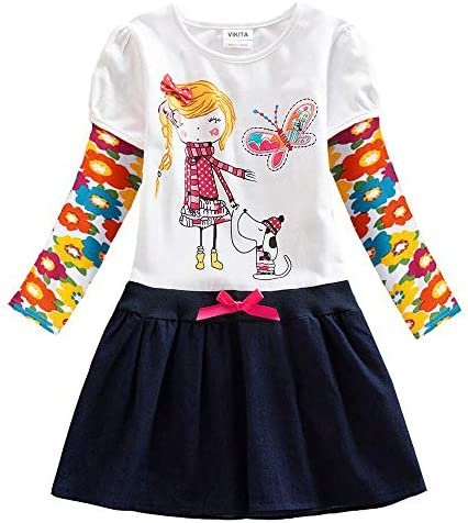 VIKITA 2017 New Kid Girl Embroidery Cotton Dress Long Sleeve H5926WHITE 8T product image