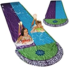 Water Slides for Kids Backyard Lawn Water Slides Slip and Slide 188 x 55in Extra-Thick PVC Garden Waterslide Watersports for Children Summer Games Outdoor Toys (Blue+Purple+Green)