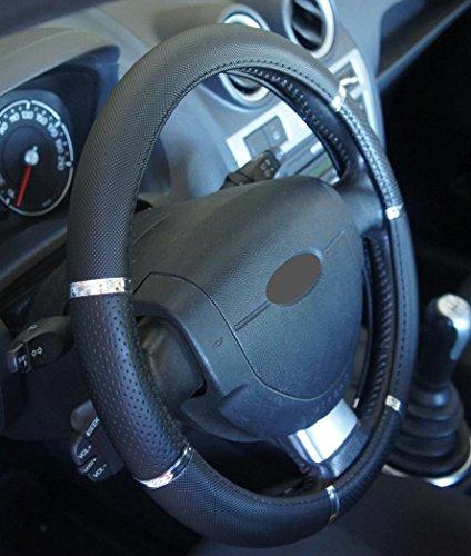 Ottima qualita' universale coprivolante nero cromo per auto Anti Scivolo Diametro 37-39cm + 1 adesivo da pc'Ricambi Auto Europa' GRATIS