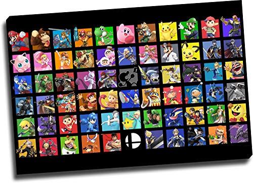 Super Smash Bros Ultimate Office Wall Decor Art Art Art 61 cm x 40 cm Poster de videojuegos con marco de madera Sonic & Mario Art Print Chic Office Art Estirado y listo para colgar