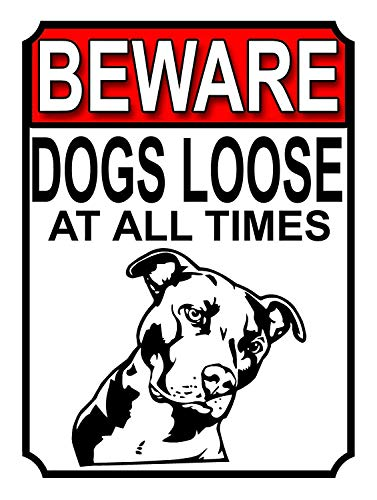 DIPLA Beware Dogs Loose at all Times Fun and Unique Vintage Pintura decorativa colgante bar club casa pared cartel cartel 20 x 30 cm