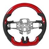 EBTOOLS Volante personalizado mejorado Volante de fibra de carbono rojo Cuero perforado con costuras negras Parte inferior plana Diseño de carreras tipo D para Fo-rd Mustang V6 EcoBoost GT 2015-2017