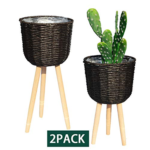 REVOLUMINI Mid-Century Modern Plant Stand for Indoor, Planter Stand with Plastic Pot, Wood Flower Pot Holder Indoor Plant Display Stand, Set of 2 (Dark Brown)