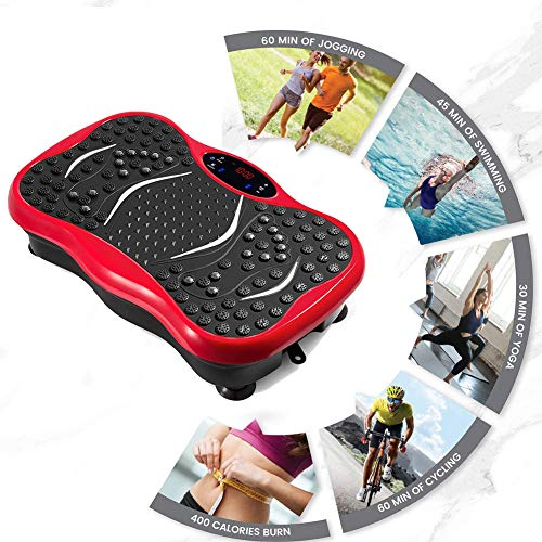 ACEWD Plataforma Vibratoria Oscilante con Cuerdas Elásticas, Massage Vibration Platform, 99 Levels, Tener Altavoz Bluetooth, Carga Máxima De 150Kgs