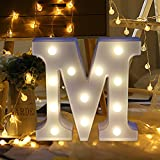 LED 26 Alphabet Lights Sign Light Up Letters Sign for Night Light Wedding/Birthday Party Battery Powered Christmas Lamp Home Bar Decoration (M)