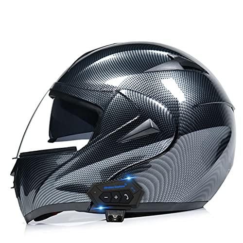 Cascos Bluetooth para motocicleta, casco modular integrado con Bluetooth, casco de motocicleta de cara completa, doble visera modular Bluetooth, casco aprobado por DOT/ECE 15, XL = (59 ~ 60 cm)
