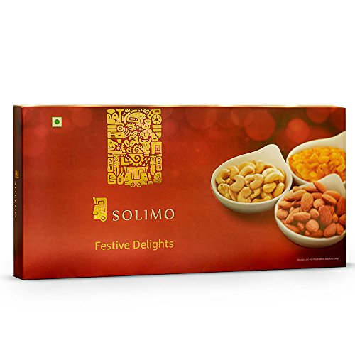 Amazon Brand - Solimo Festive Delights Gift Pack of Nuts and Dry Fruits, 300g