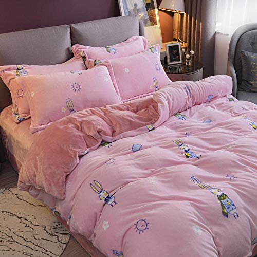 geek cook superking duvets sets,Thick coral fleece four-piece suit plush warm bedding milk fleece sheet duvet cover double-sided flannel-Silver Miss Rabbit_2.0m (6.6 feet) bed
