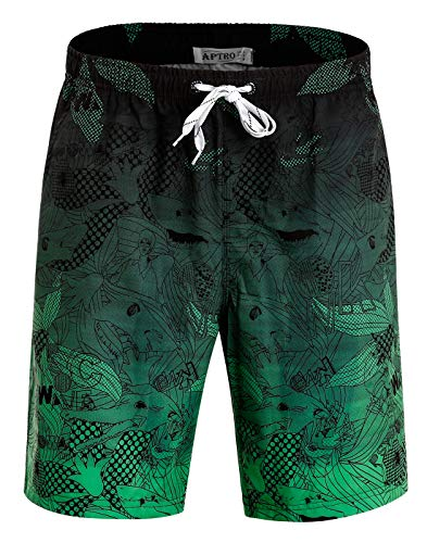 APTRO Men's Swim Trunks Quick Dry 4 Way Stretch Beach Board Shorts HWP023 Green S