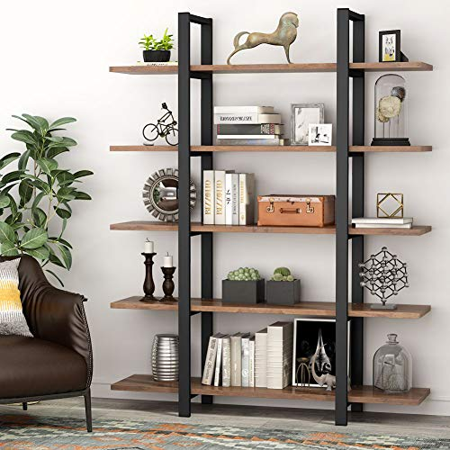 Tribesigns 5-Tier Bookshelf, Vintage Industrial Style Bookcase 72 H x 12 W x 47L Inches, Cherry