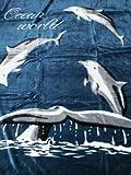 Natur-Fell-Shop Kuscheldecke Tagesdecke Decke Motiv Delfin/Delphin I 160x200cm