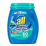 all Mighty Pacs Laundry Detergent 4-In-1 with Odor Lifter, Tub, 60 Count