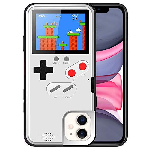 Gameboy Case for iPhone XR, Chu9 Retro 3D Shockproof Gameboy Cover Case with 36 Classic Games, Handheld Color Screen Playable Video Game Console Case for iPhone (White,iPhone XR)