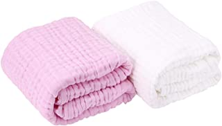 AIMIUKIDS Newborn Muslin Baby Towel Cotton Gauze Super Soft Baby Bath Towels 6 Layers Infant Towels 2 Pack 43.3''x43.3''(White,Pink)