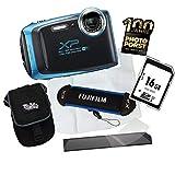 1A PHOTO PORST Jubiläumsangebot Fujifilm Finepix XP130 Outdoor-Kamera Blau Digitalkamera+16 GB SD Speicherkarte+Tasche+Display-Schutzfolie+Schwimmgurt+Mikrofasertuch