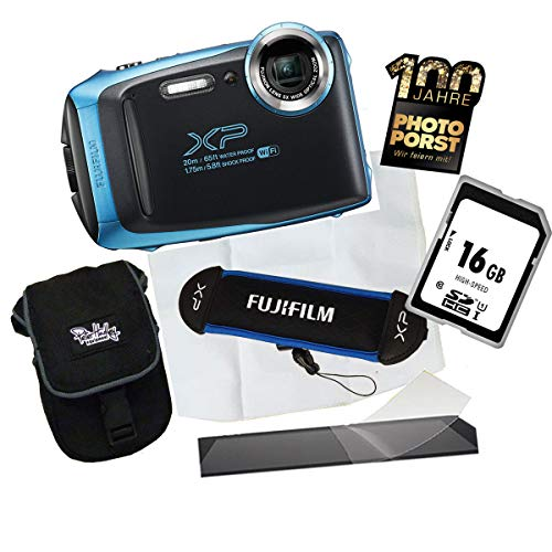 1A Photo PORST Fujifilm Finepix XP130 - Fotocamera digitale per esterni + scheda di memoria + custodia + pellicola protettiva per display + cintura + panno in microfibra