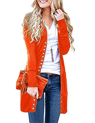 Yknktstc Womens V-Neck Button Down Knitwear Long Sleeve Soft Basic Knit Cardigan Sweater Large Orange