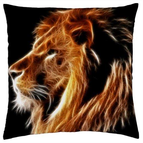 Barooer Glowing Lion - Funda de Almohada (45,72 x 45,72 cm)