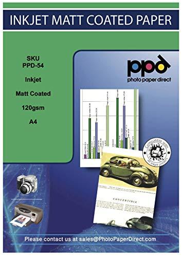 PPD A4 x 50 Blatt Inkjet 120 g/m2 Fotopapier Matt Einseitig Beschichtet - der Klassiker für vollfarbige und hochauflösende Fotodrucke zum Sparpreis - geeignet für alle Tintenstrahldrucker - PPD054-50