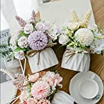 magicwolf artificial flower with small ceramic vase set rose hydrangea bouquet fake flowers arrangements decorations for wedding office table home party(purple)
