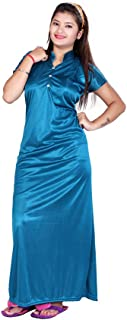 Bailey Women's Satin Night Gown (Firozi, Free Size)