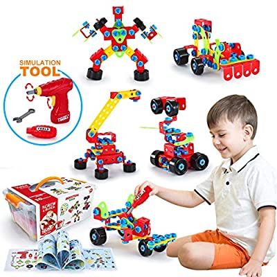 VATOS Building Toys, STEM Toys 550 Piece Creative Construction Engineering Learning Set for 5, 6, 7, 8+ Year Old Boys&Girls Best Toy Gift for Kids |Take-A-Part Building Blocks