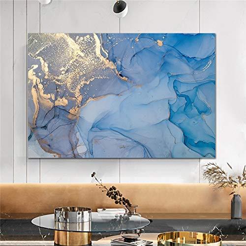 XIANGPEIFBH Nube Colorida con imágenes de Arte de Pared Doradas habitación decoración de sofá Lienzo Pintura decoración del hogar Obra de Arte impresión en Lienzo 50x70cm (20'x28) sin Marco