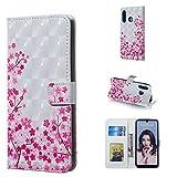 Dmtrab Phone Case for pour Huawei P30 Lite Portefeuille, Motif Sakura Motif 3D Horizontal Flip Cover...