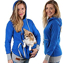 Woman shown wearing a Pet Pouch Hoodie by Roodie.